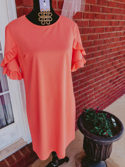 Twirl Me Dress - Coral