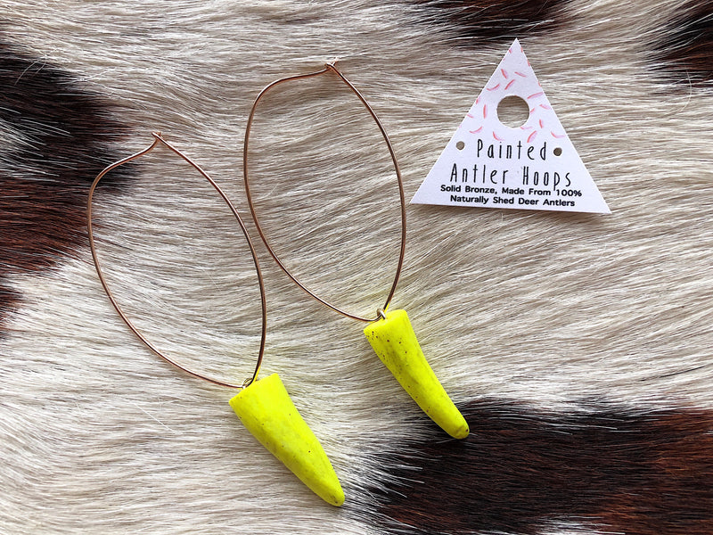Antler Tip Hoops - Neon Yellow