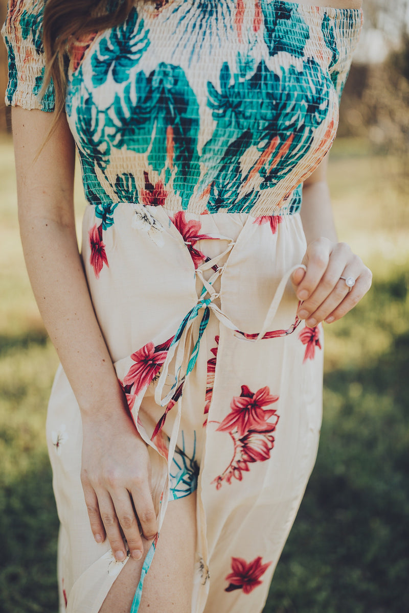 Tropical Overlay Romper
