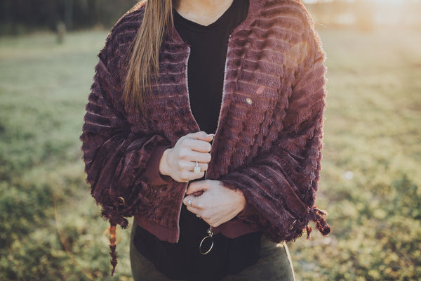 Eyelash Detailed Bomber Jacket - Wine