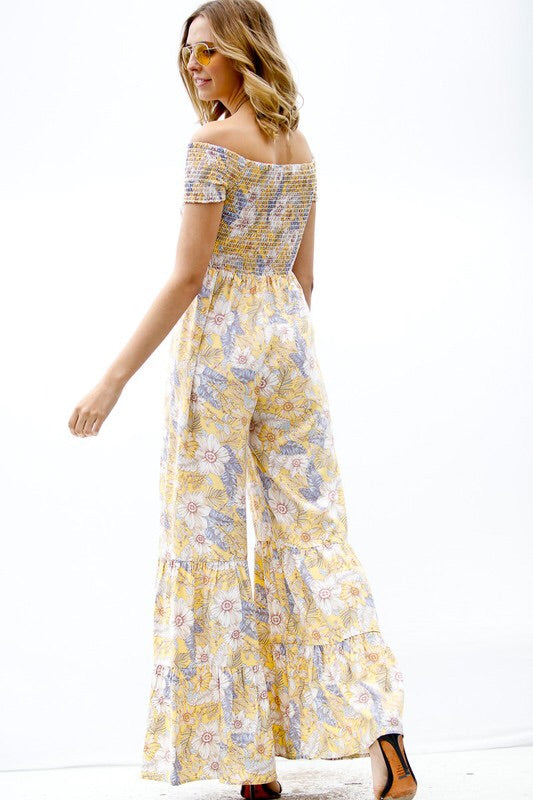 Fixed On Floral Jumpsuit - Yellow