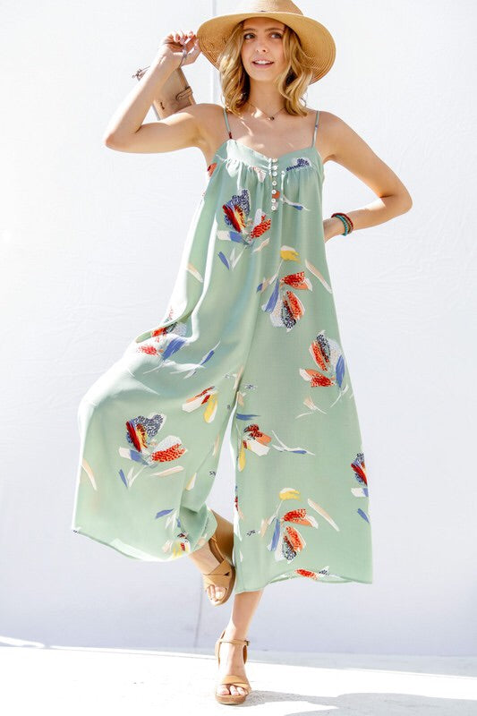 Painted Coulotte Jumpsuit - Sage