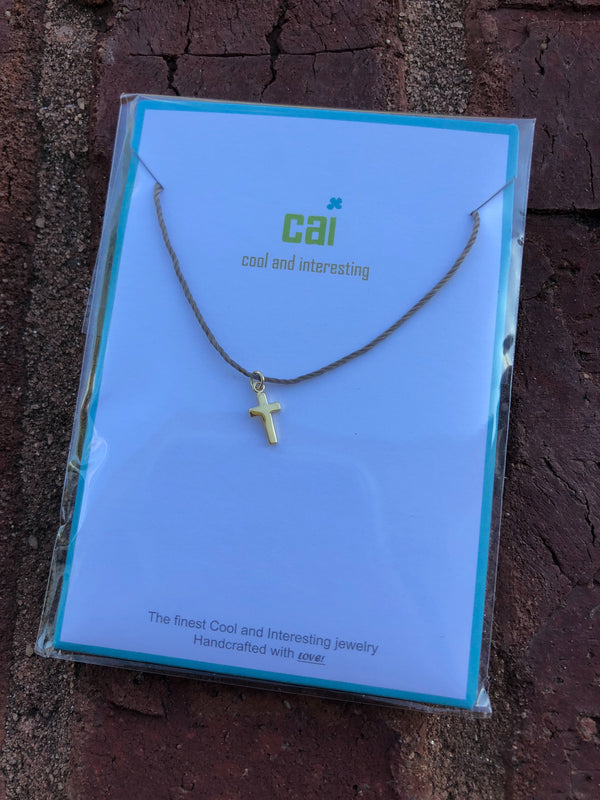 Cross Cord Necklace - Gold