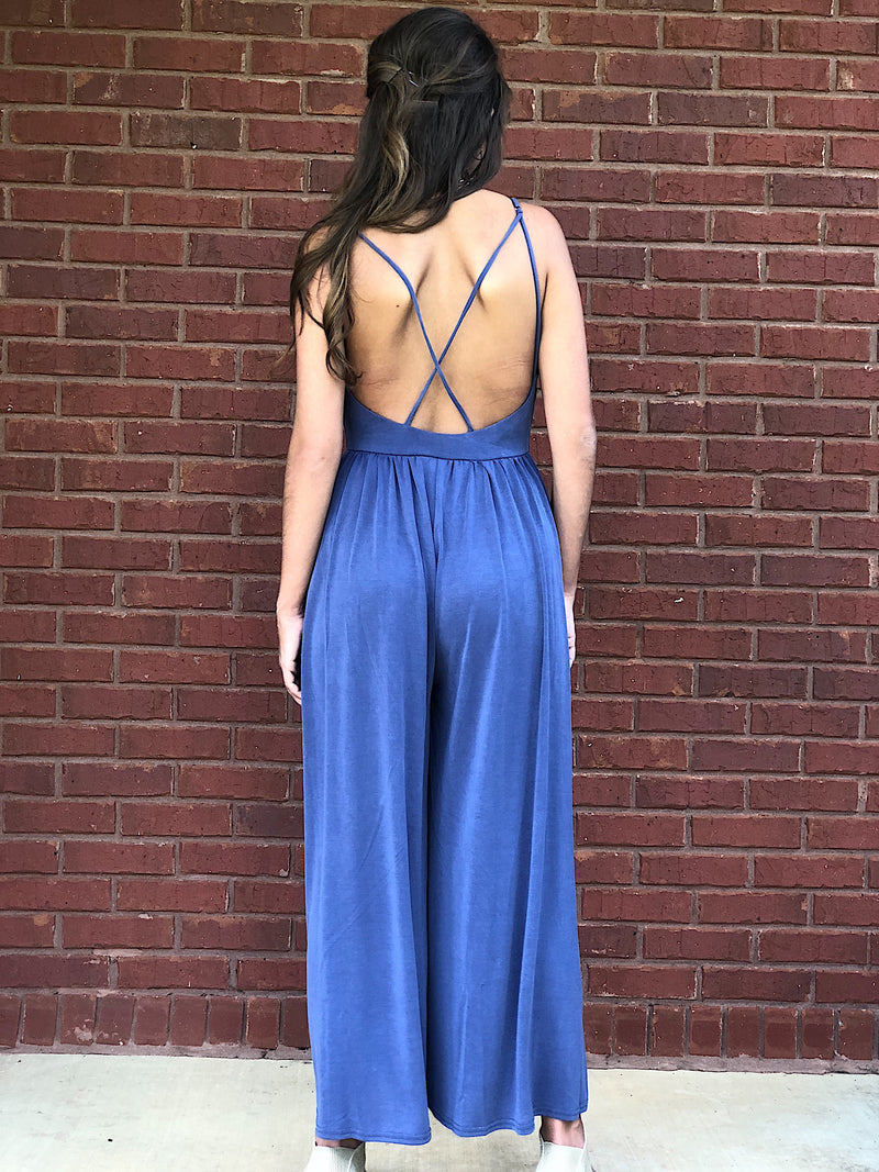 No More Wishing Jumpsuit - Navy