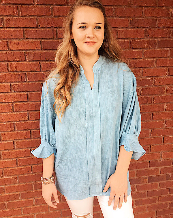 Start Off The Night Right Blouse - Light Denim