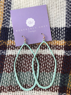 Flat Bottom Earrings - Mint