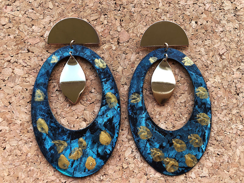 Patina Earrings - Blue