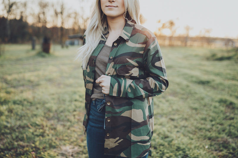 Button Down Top - Camo