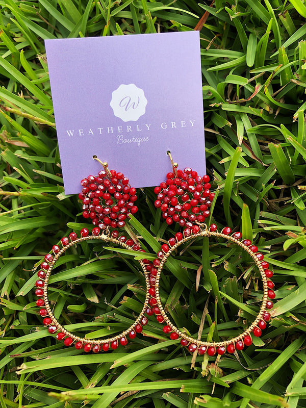 Beaded Ring Earrings - Red