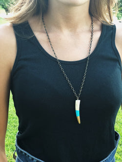 Antler Tip Necklace - Turquoise