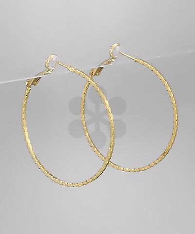 Ribbed Hoop Earrings - Gold