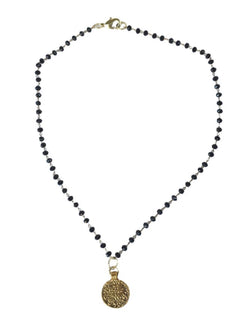 Black Crystal Coin Necklace