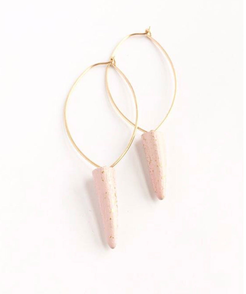 Antler Tip Hoops - Dusty Rose