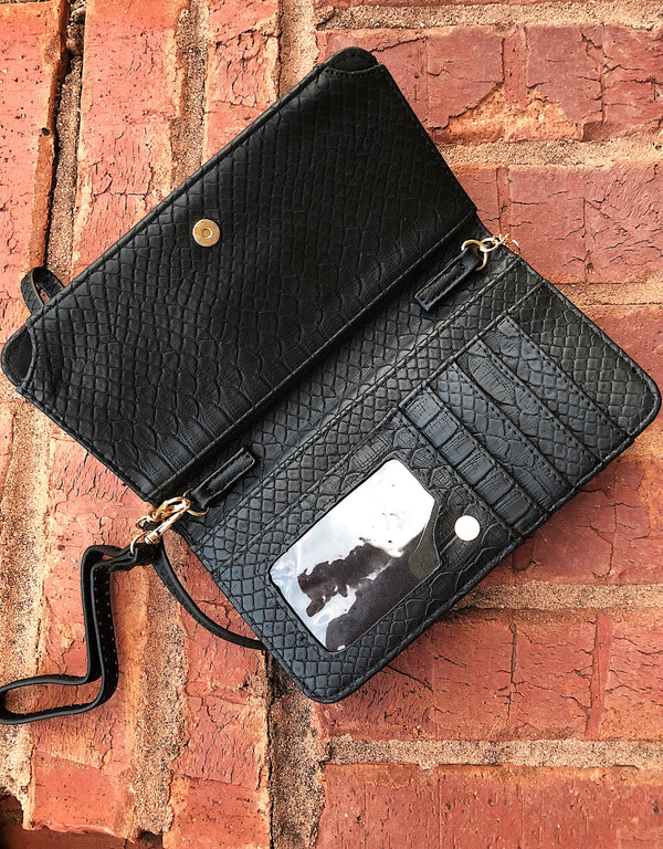 Three In One Maria Crossbody - Snake Black