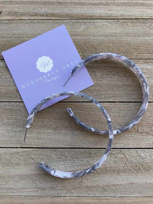 Flat Open Hoops - Multi Grey