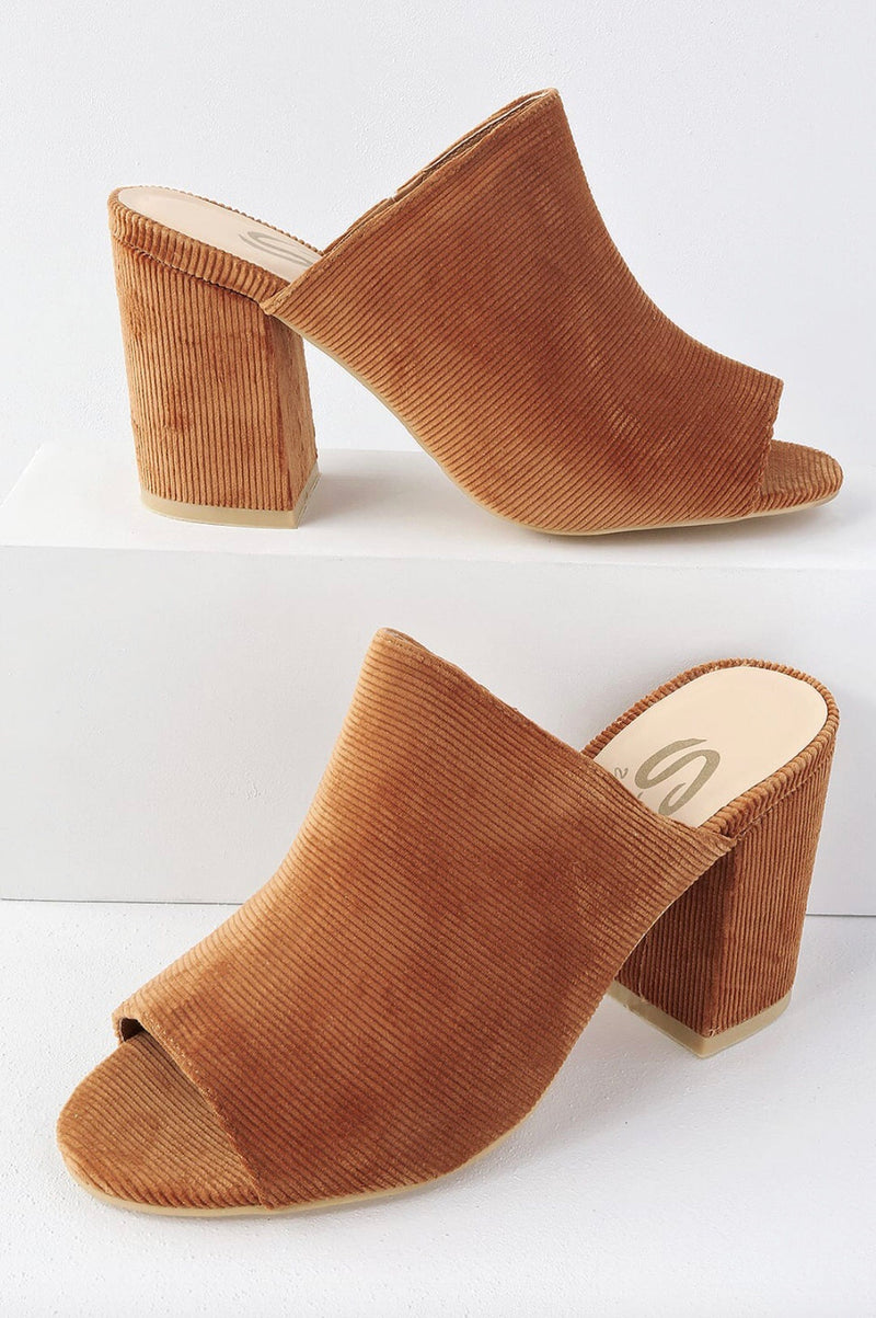 Caught With Corduroy Mules - Tan