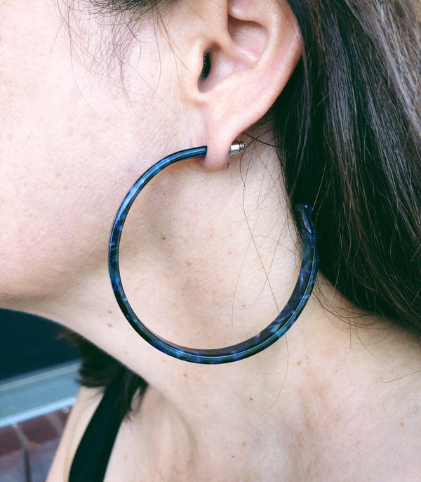 Flat Open Hoops - Montana Blue