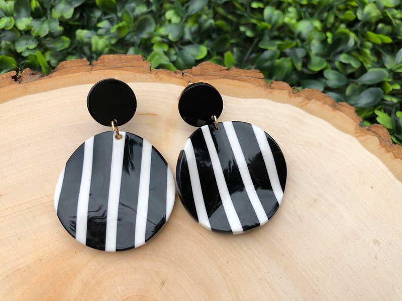 Sass And Stripes Disk Earrings