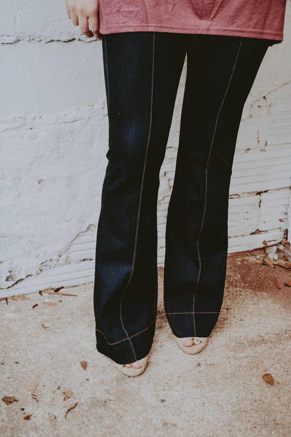 Pin-Tuck Flare Jeans - Dark Denim