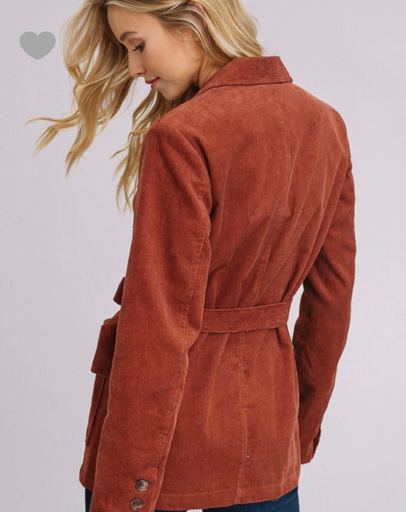 So Vintage Corduroy Blazer - Brick
