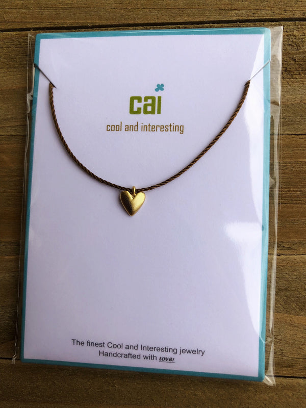 Heart Cord Necklace - Gold