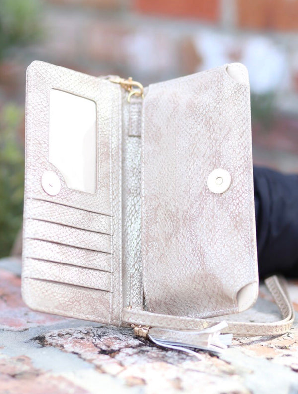 Three In One Maria Crossbody - Snake Metallic Gold