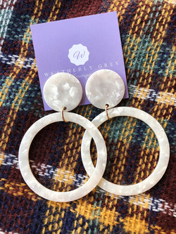 Disc & Circle Earrings - Ivory