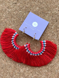 Fringe Tassel Hoop Earrings - Red