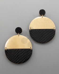 Snake Skin Disk Earrings