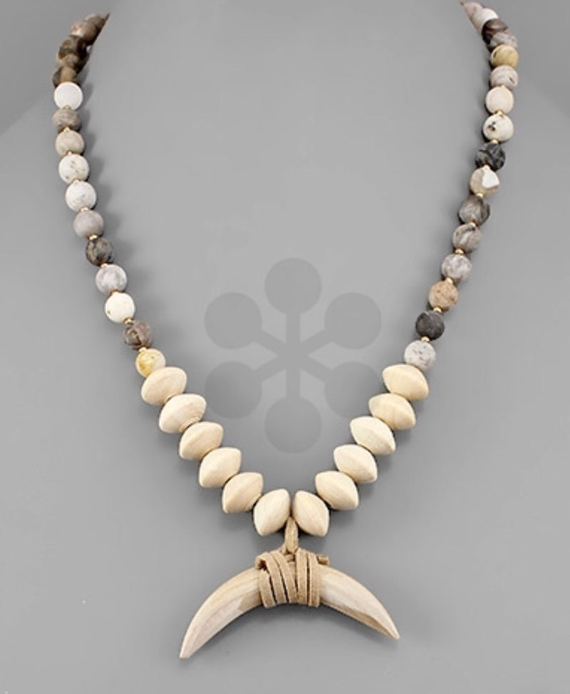 Stone and Wood Horn Necklace