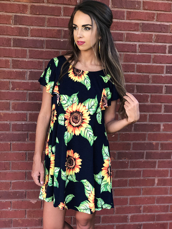 Sassy Saturday Sunflower Dress - Navy Mix