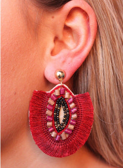 Rishna Fanned Tassel Earrings - Garnet