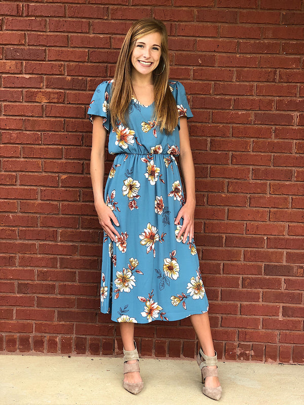 It's So Sweet Midi Floral Dress - Dusty Blue