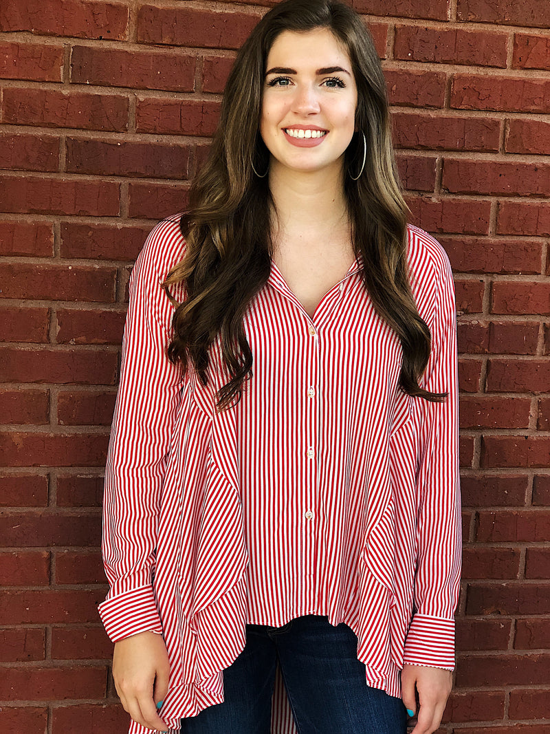 Sweet Soul And Stripes Button Up Top - Red