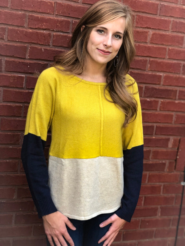 Color Block Sweater - Mustard