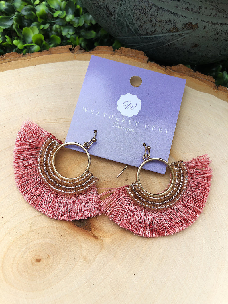Fancy Fanned Earrings - Coral