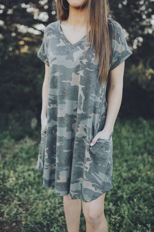 Not Going There Camo Print Dress