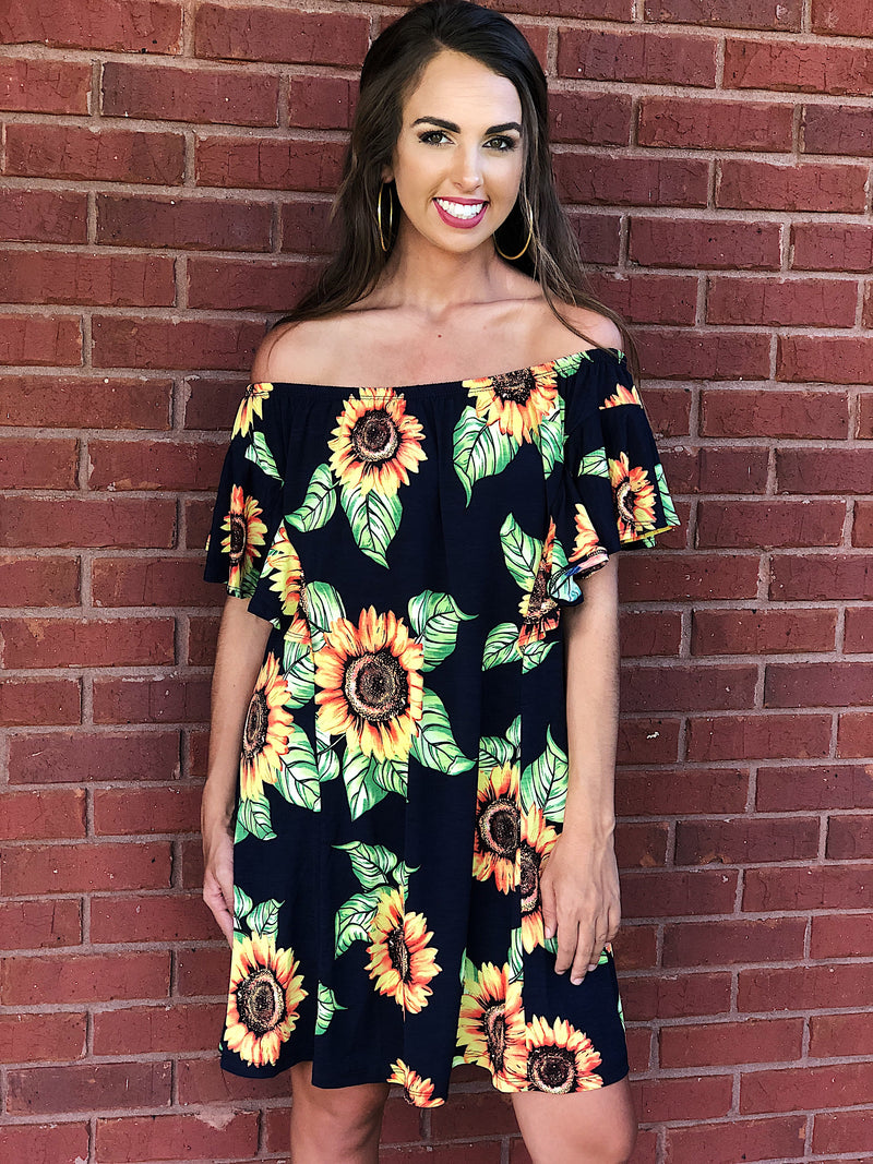 Sassy Saturday Sunflower Off The Shoulder Dress - Navy Mix