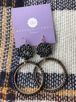 Beaded Ring Earrings - Navy