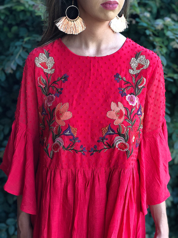 Southern Dream Bell Sleeve Dress - Strawberry