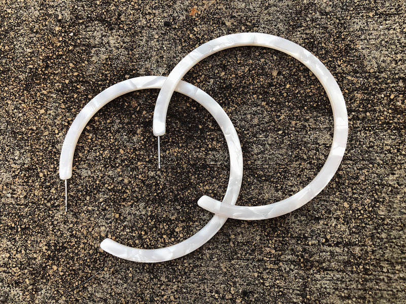 Open Hoops - White