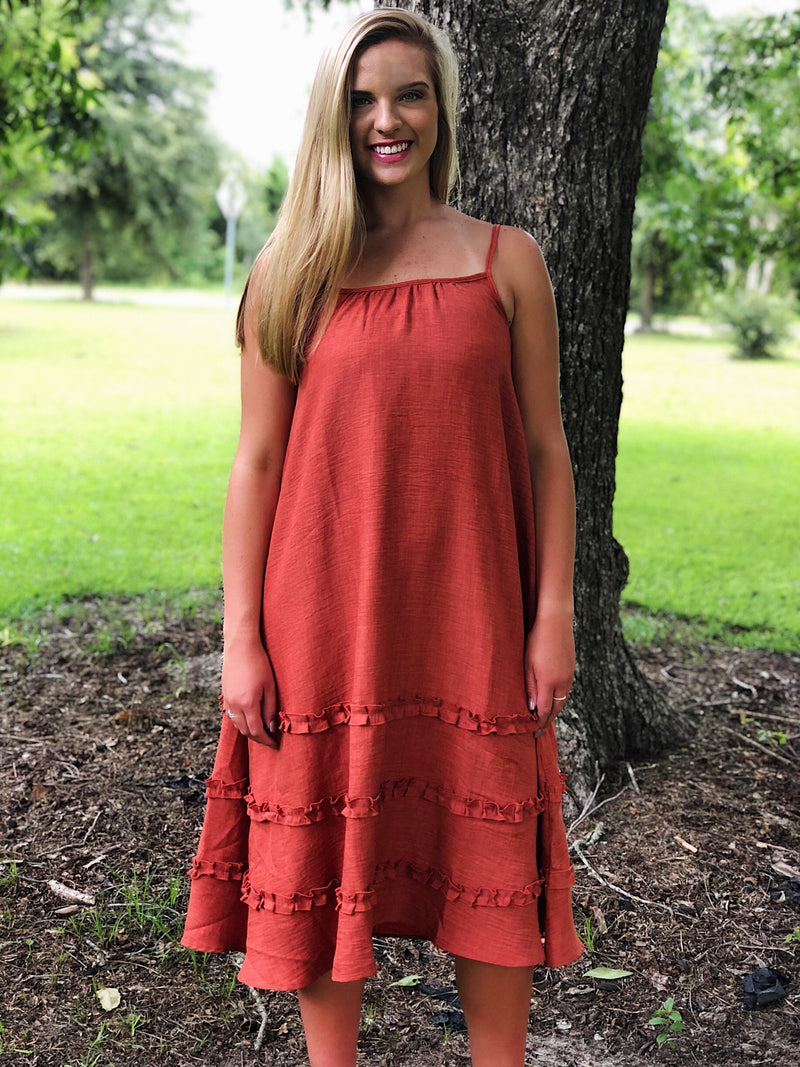 The Ruffles Dress - Paprika