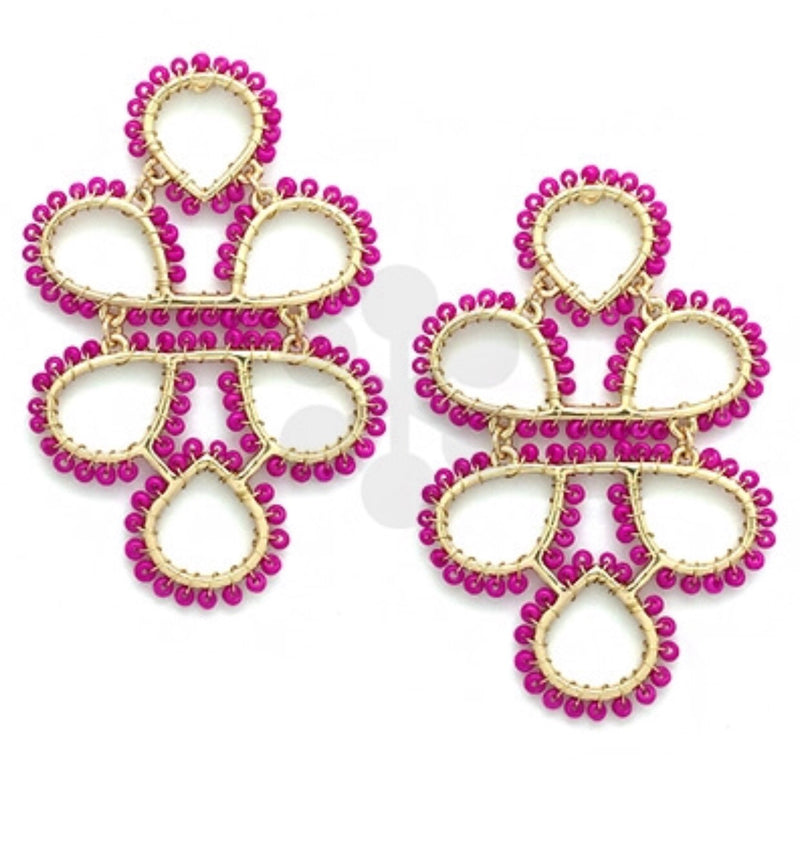 Infinity Knot Seed Bead Earrings - Fuchsia