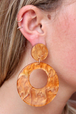 Resin Retro Earrings - Topaz
