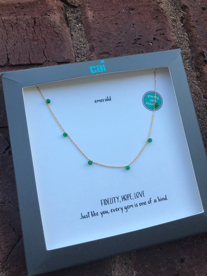 Celestial Gemstone Necklace - Emerald