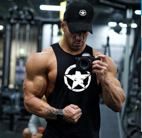 Star Print Workout Vest, Muscle, Body Building, Tank Top, Fitness Stringer - Metaphysiqueonline