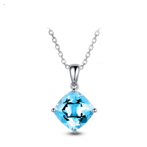 925 Sterling Silver Square Lake Blue Topaz Pendant Necklace