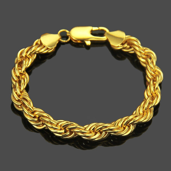 "14K Gold Filled Bracelet Solid Cuban Link Lobster 9.5"" Claw"