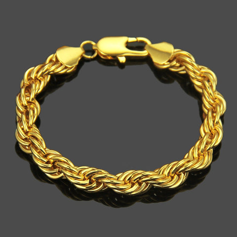 14K Gold Filled Bracelet Solid Cuban Link Lobster 9.5