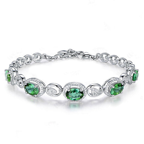 925 Sterling Silver Pave Setting Dazzing Olive Green Spinel Bracelet